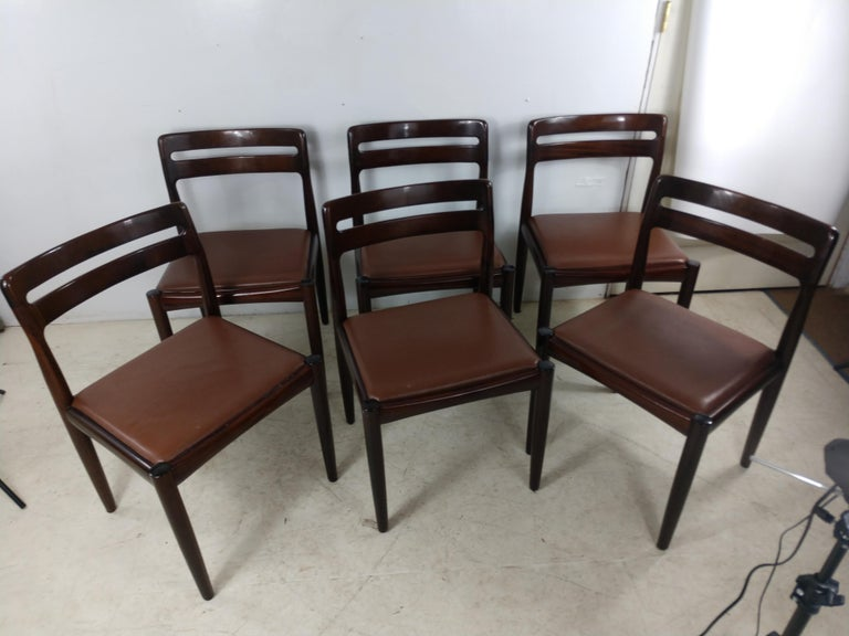 Mid-20th Century Danish Modern Set of Six Rosewood Dining Chairs H W Klein for Bramin For Sale