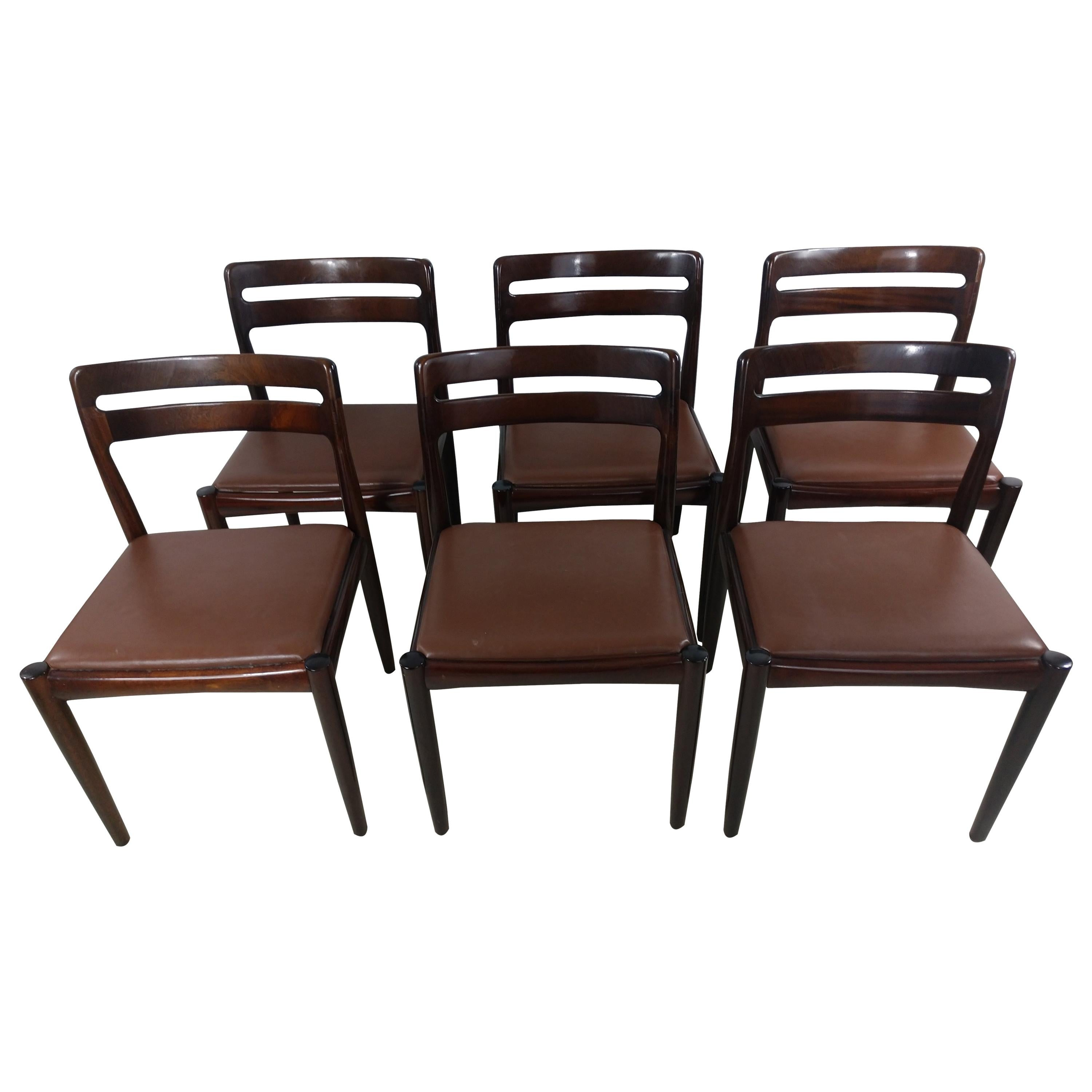Danish Modern Set of Six Rosewood Dining Chairs H W Klein for Bramin