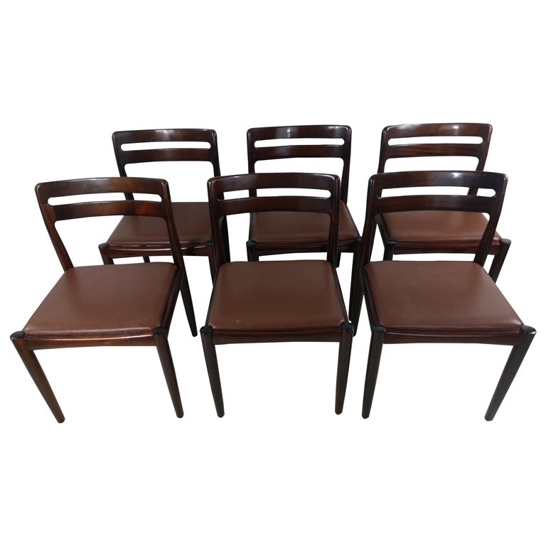 Danish Modern Set of Six Rosewood Dining Chairs H W Klein for Bramin For Sale