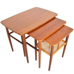Danish Modern Set of Teak Nesting Tables with Cane Rack