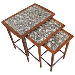 Danish Modern Set of Teak and Tile Nesting Tables