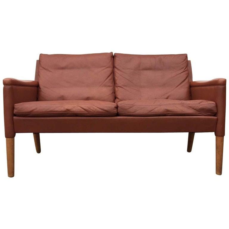 Danish Modern Settee-Sofa in Cognac Tanned Leather, Model 55 by Kurt  Østervig