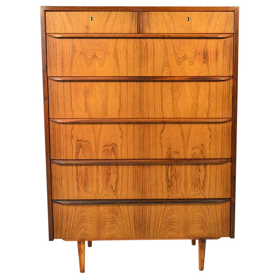 Danish Modern Seven Drawer Rosewood Highboy Dresser