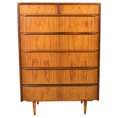 Danish Modern Seven Drawer Rosewood Highboy Dresser