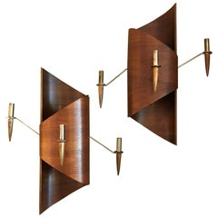 Danish Modern Shaped Teak and Brass Italian Modern Wall Candle Appliques