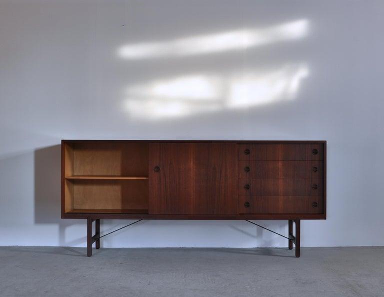 Scandinavian Modern Danish Modern Sideboard in Teakwood by Ejner Larsen & Aksel Bender Madsen, 1950s For Sale