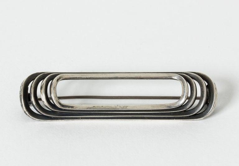 Modernist Danish Modern Silver Brooch from Hans Hansen, Denmark, 1940s For Sale