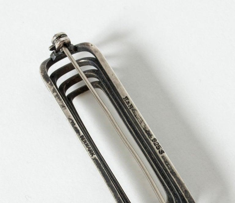 Women's or Men's Danish Modern Silver Brooch from Hans Hansen, Denmark, 1940s For Sale
