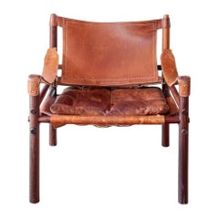 Danish Modern Sirroco Safari Chair in Rosewood & Maroon Leather by Arne Norell
