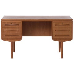 Danish Modern Six-Drawer Teak Desk with Front Side Shelves and Bar Storage