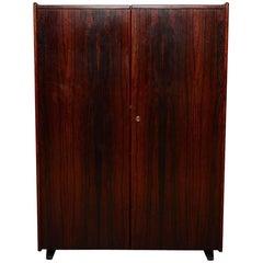 Danish Modern Sleek Rosewood Hideaway Desk Cabinet, Kofod Larsen