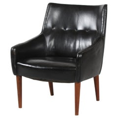 Danish Modern Small Easy Chair with Black Faux Leather by Danish Furniture Maker