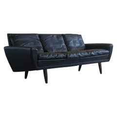 Danish Modern Sofa by Georg Thams in Black Leather and Rosewood Legs, 1964