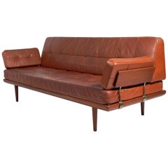 Danish Modern Sofa in Original Cognac Leather by Peter Hvidt