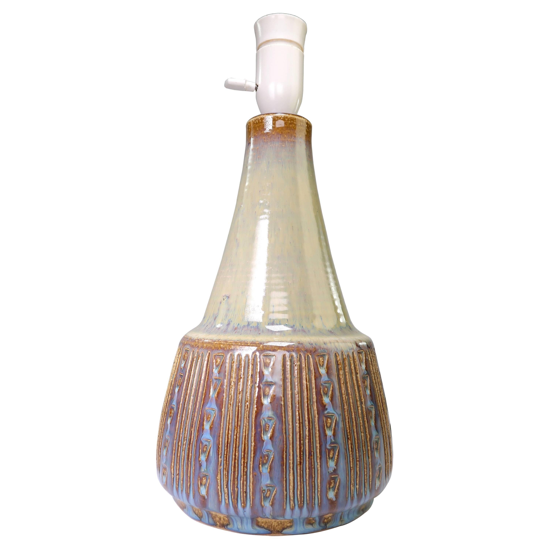 Danish Modern Soholm Handmade Olive Green, Blue, Brown Ceramic Table Lamp, 1960s