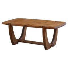Danish Modern Solid Pine Brutalist Coffee Table, 1960s