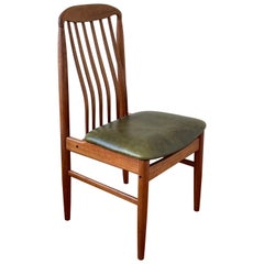 Danish Modern Solid Sculpted Back Teak Desk Chair in Leather Seat