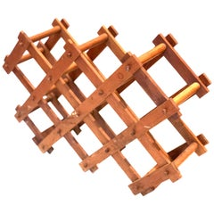 Danish Modern Solid Teak 8 Bottle Capacity Folding Wine Rack
