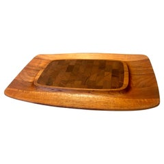 Danish Modern Solid Teak Cheese and Crackers Tray by Dansk Quistgaard
