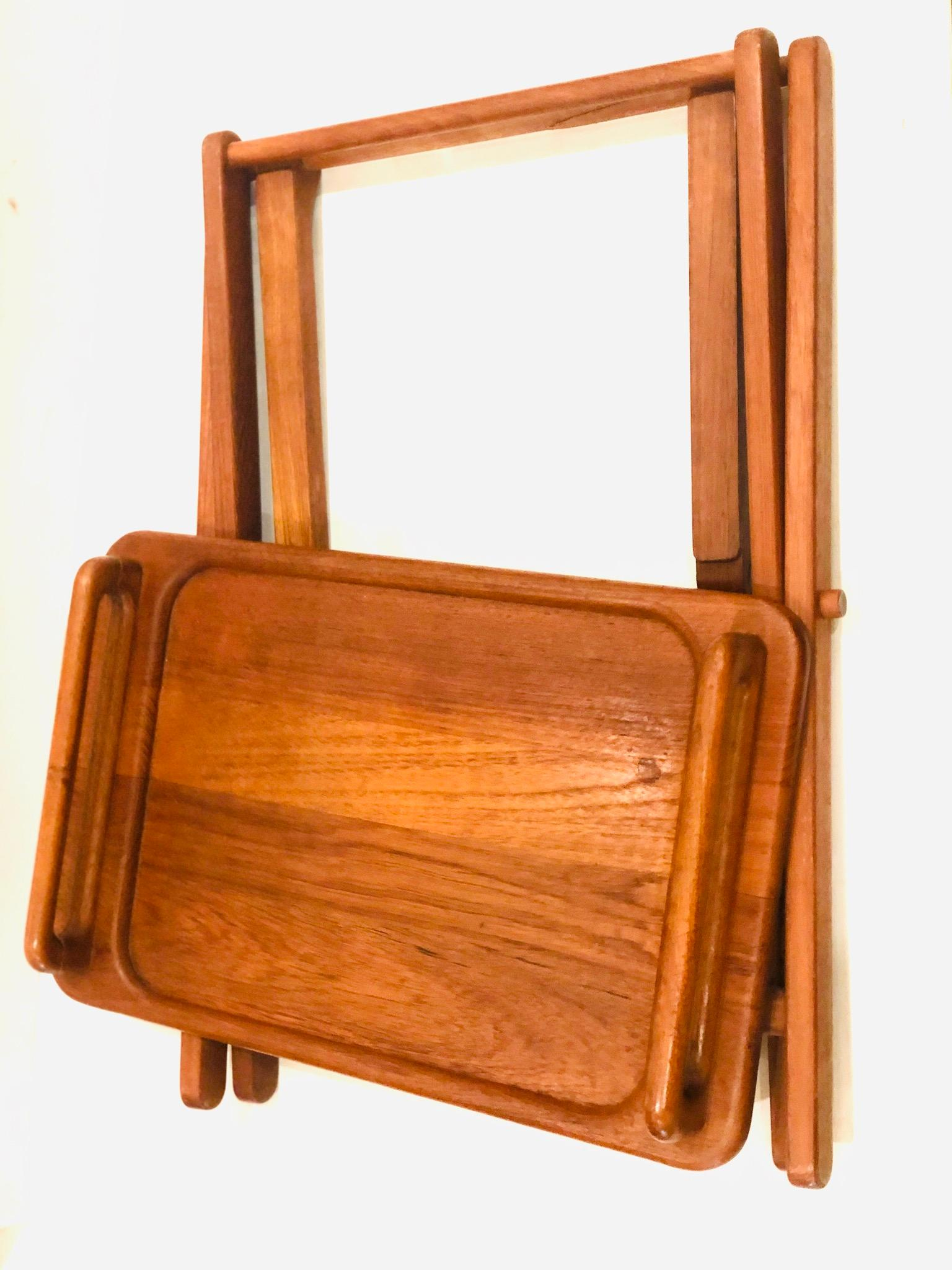 Danish Modern Solid Teak Folding Tv Tray Portable For Sale At 1stdibs