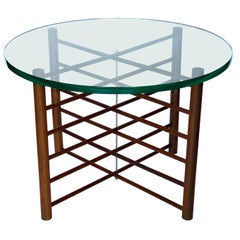 Danish Modern Solid Teak and Glass Campaign Style Cocktail Table