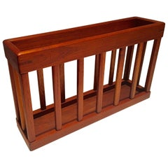 Danish Modern Solid Teak Magazine Rack