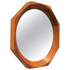 Danish Modern Solid Teak Octagon Mirror