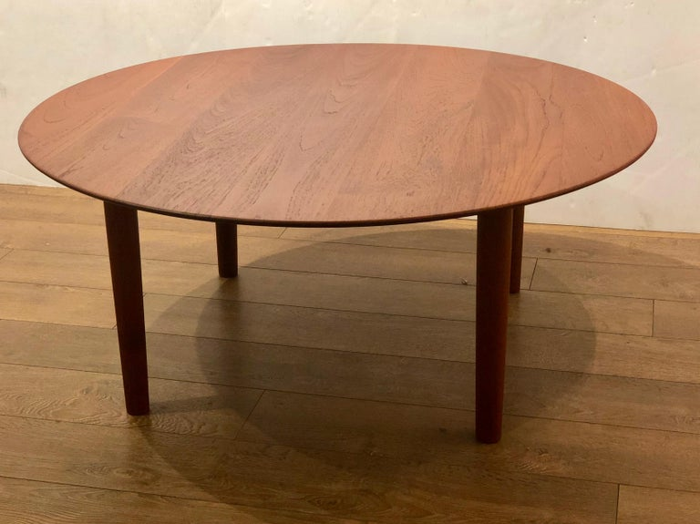 Danish Modern Solid Teak Round Coffee Table with Beveled ...