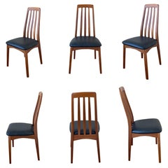 Danish Modern Solid Teak Set of Six Dining Eva Chairs by Niels Koefoed