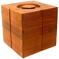 Danish Modern Solid Teak Square Ice Bucket