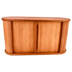 Danish Modern Solid Teak Tambour Door Box