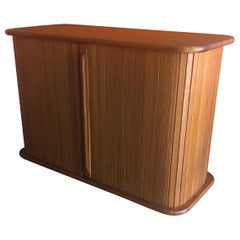 Danish Modern Solid Teak Tambour Door Storage Box
