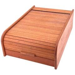 Danish Modern Solid Teak Tambour Door Trinket Desk Top Box