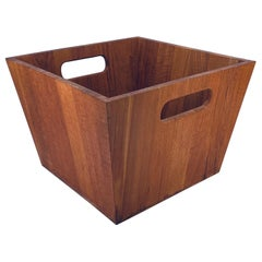 Danish Modern Solid Teak Waste Basket with Handles