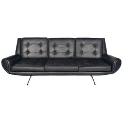 Danish Modern Space Age Sofa in Black Leather