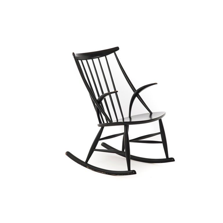 Danish Modern Spindle Backed Wooden Rocking Chair 2