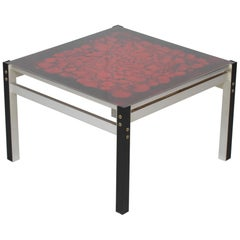 Danish Modern Square Glass Table with Red Decoration and Aluminium Frame, 1970s