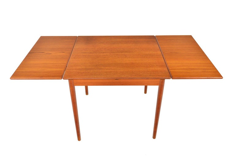 Scandinavian Modern Danish Modern Square Teak Draw Leaf Dining Table For Sale