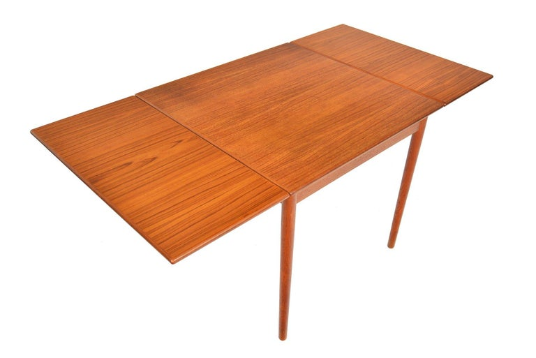 20th Century Danish Modern Square Teak Draw Leaf Dining Table For Sale