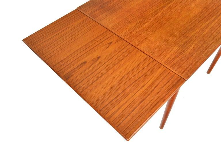 Danish Modern Square Teak Draw Leaf Dining Table For Sale 1