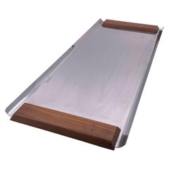 Danish Modern Stainless Steel & Teak Handles Serving Tray
