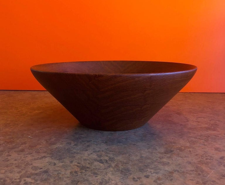 Danish modern staved teak bowl by Digsmed, circa 1960s. The bowl, which measures 12