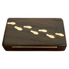 Danish Modern Sterling and Bog Oak 'Footprint' Box, Attributed, Axel Salomonsen