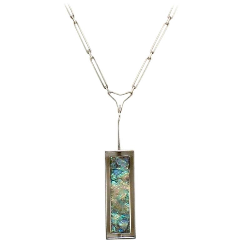 Danish Modern Sterling Silver & Abalone Shell Pendant Necklace by Palle Bisgaard