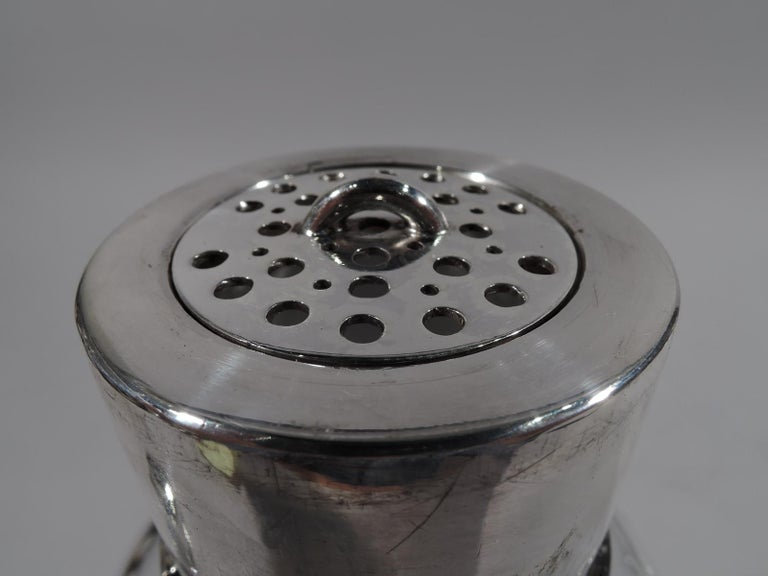 Danish Modern Sterling Silver and Glass Cocktail Shaker In Excellent Condition For Sale In New York, NY