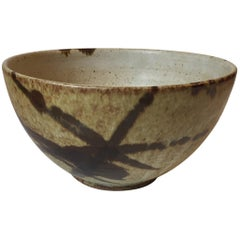 Danish Modern Stoneware Bowl with Abstract Decor by Aage Würtz, 1970s