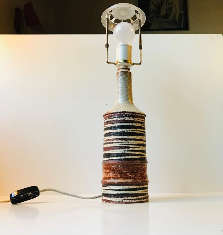 Mid-Century Modern Danish Modern Stoneware Table Lamp 'Tribal' by Jette Hellerøe For Sale