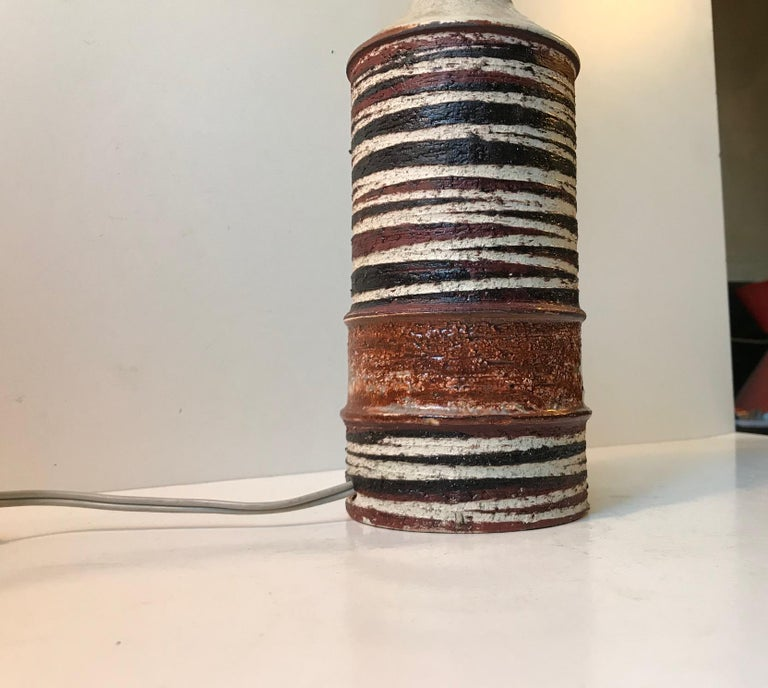 Danish Modern Stoneware Table Lamp 'Tribal' by Jette Hellerøe For Sale 2