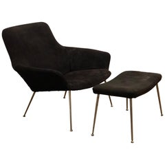 Danish Modern Striking Black Suede and Chrome Legs Lounge Chair and Ottoman
