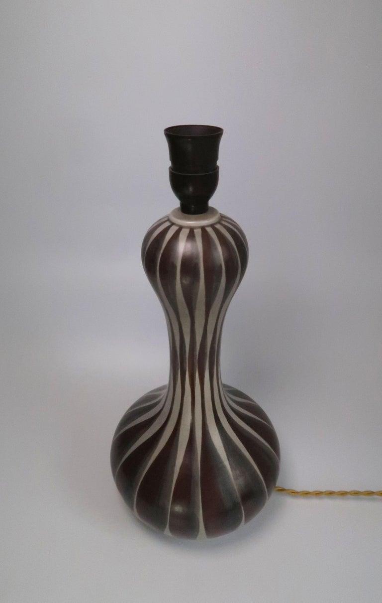 Mid-Century Modern Danish Modern Striped Ceramic Hourglass Table Lamp, E & J Andersen, 1960s For Sale
